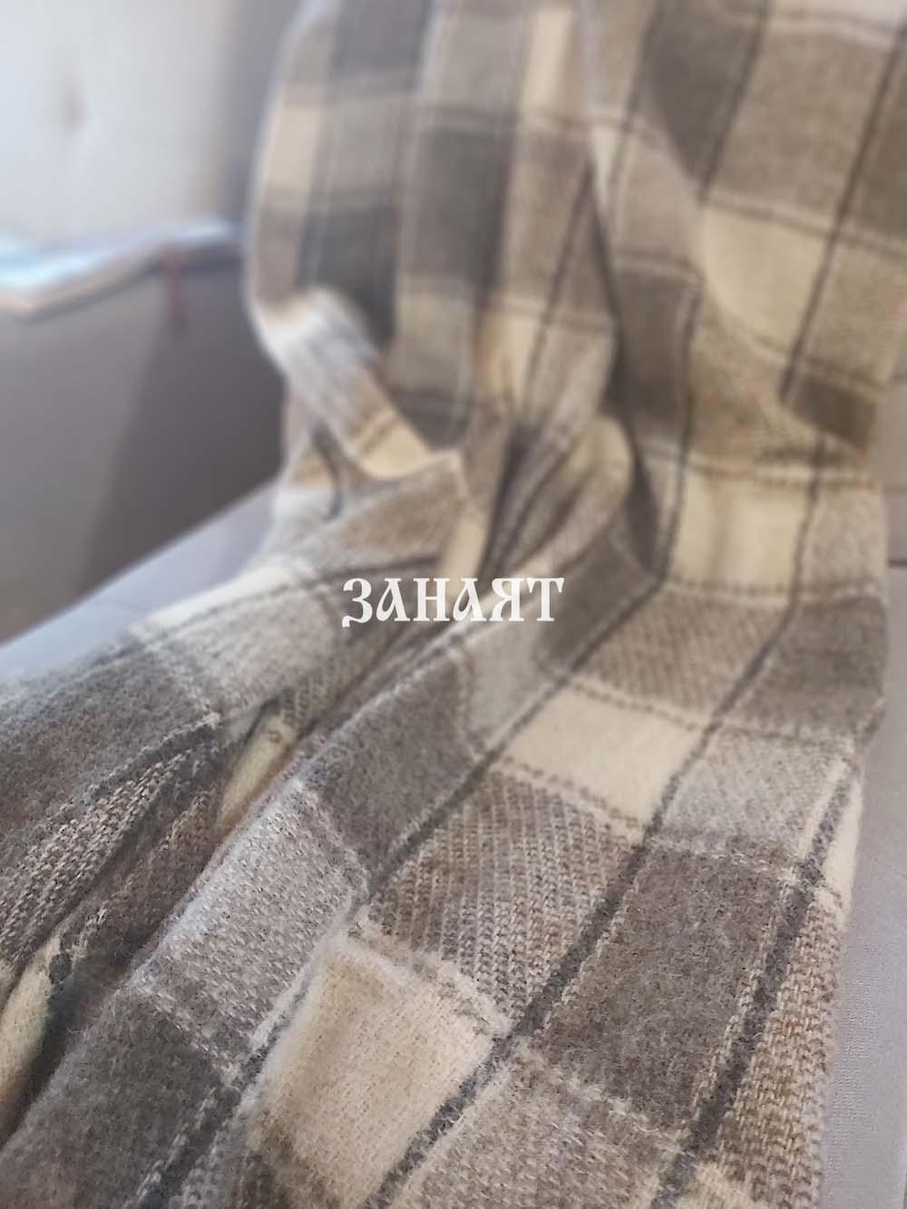 Вълнено одеяло олекотено кафява лента