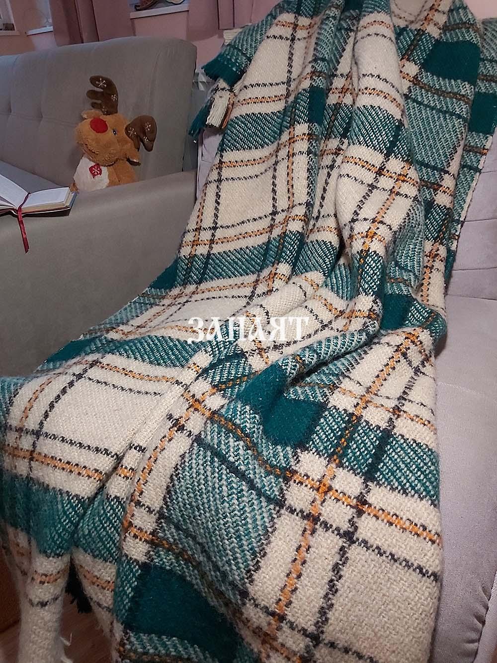 Вълнено родопско одеяло зелен рипс
