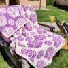 Памучно жакардово одеяло лилава роза