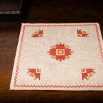 Бродирано каре от лен - с традиционни мотиви от Граово